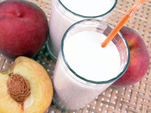 milk and peaches