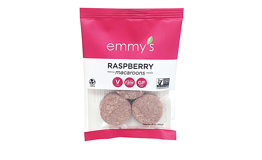 Emmy's Organics introduced a new raspberry flavor to its line of vegan, gluten-free and non-GMO macaroons