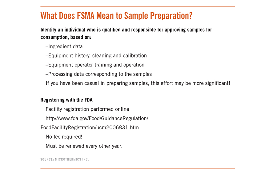 The Food Safety Modernization Act (FSMA) and sample preparation