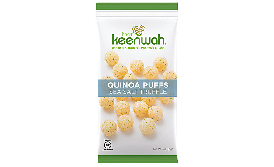 Grain and vegetable-based snacks such as I heart keenwah's Quinoa Puffs embrace new forms and seasonings