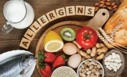 Letter Blocks Spell Out Allergens Placed Above Major Food Allergens