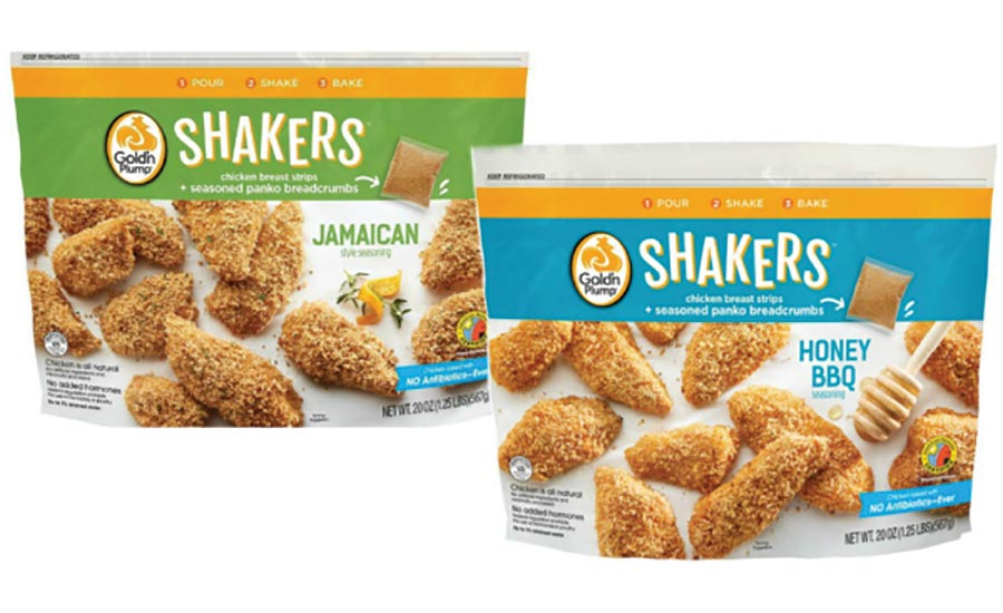 Gold'n Plump Shakers, a line of fresh, three-step-prep chicken breast strip kits.