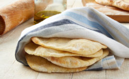Slices of Flatbread Wrapped in Napkin