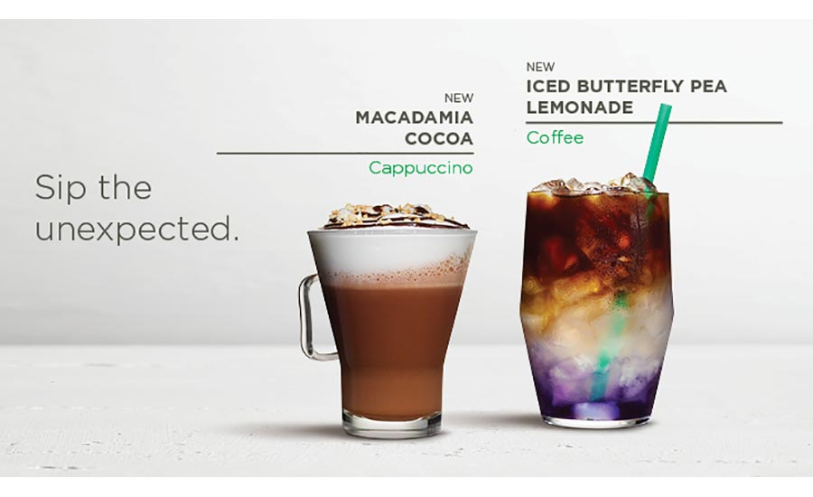 Starbucks Macadamia Cocoa and Iced Butterfly Pea Lemonade