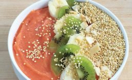 Kiwi and Chia Seeds Bowl with Probiotic Bacteria