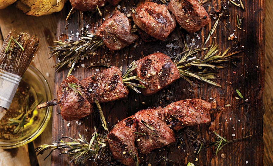Beef Skewers Coated with Dry Rub