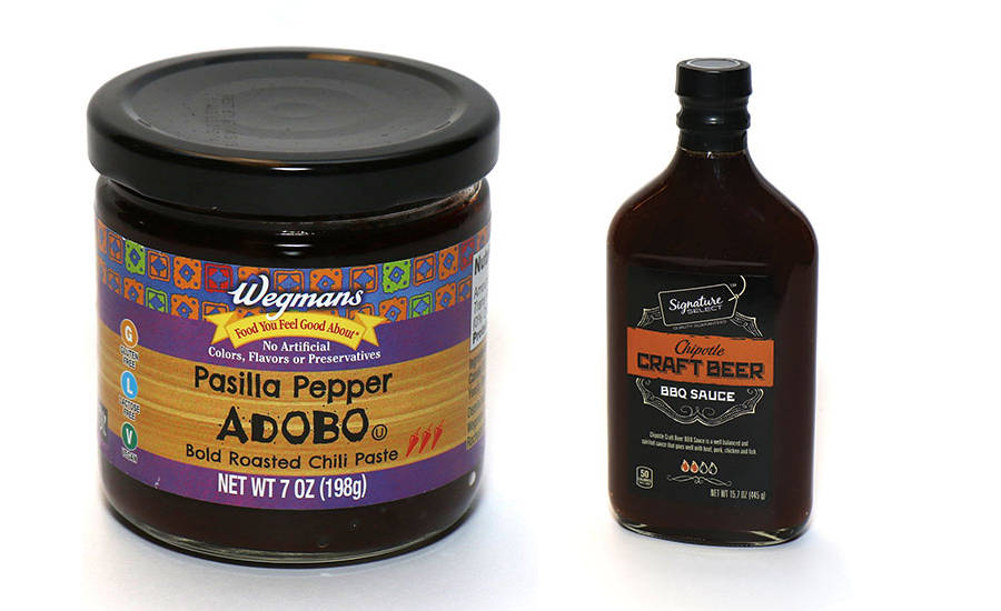 Wegman's Pasilla Pepper Adobo and Albertsons Chipotle Craft Beer BBQ Sauce