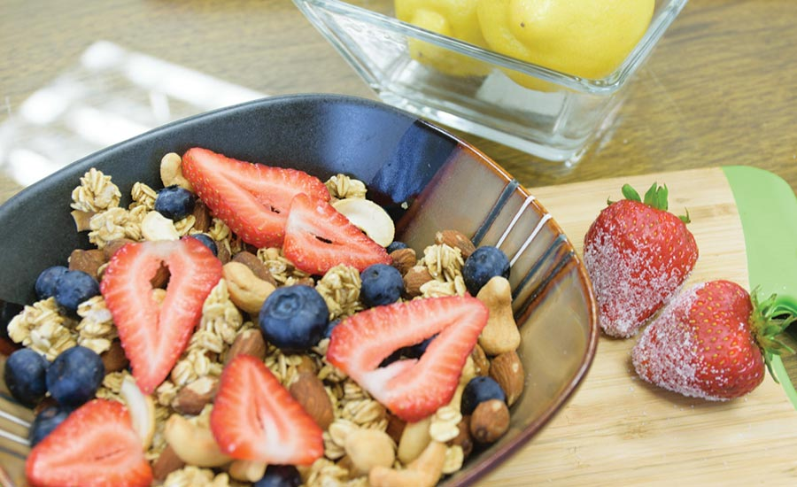 Granola Trail Mix Topped with Berries