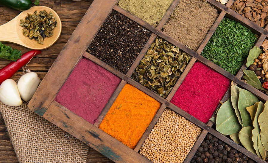 Tray with Different Spices