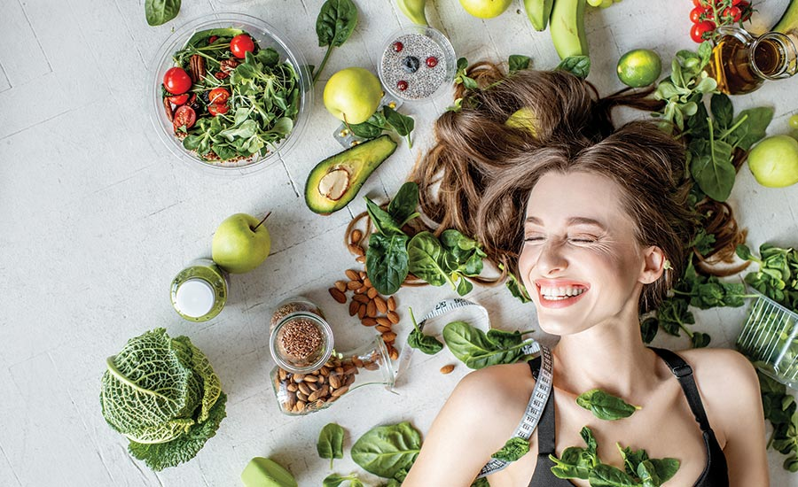 Woman with Healthy Foods