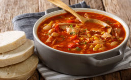 Slices of Bread and Bowl of Brunswick Stew