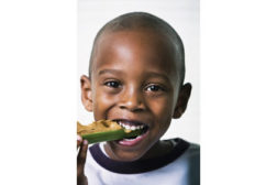 boy eating celery, peanut butter