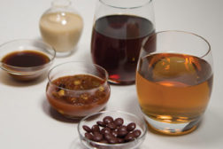 brown beans, brown colored liquids