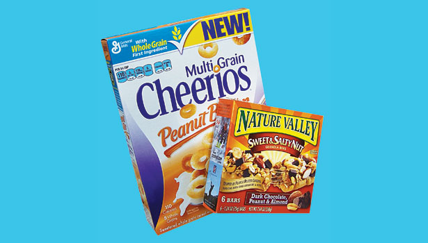 Multi Grain Cheerios peanut butter flavor and Nature Valley Sweet & Salty Nut bars with peanut butter