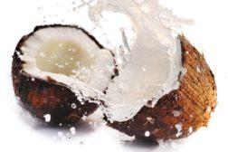 coconut, coconut split in half