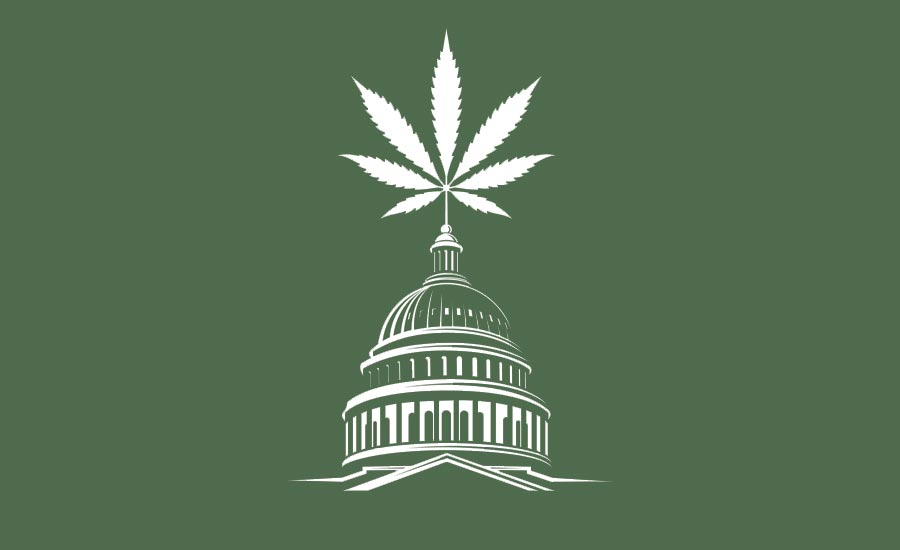 Capitol Building Topped With Marijuana Leaf