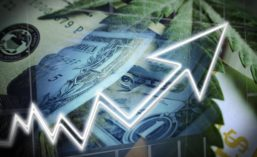 Dollar Bills and Upwards Arrow